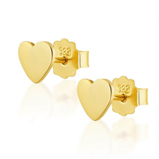Złote kolczyki Serce