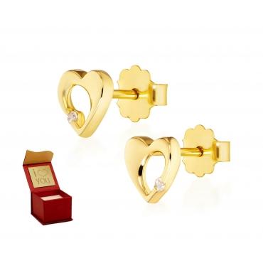 Złote kolczyki Promienne Serce 1.183s