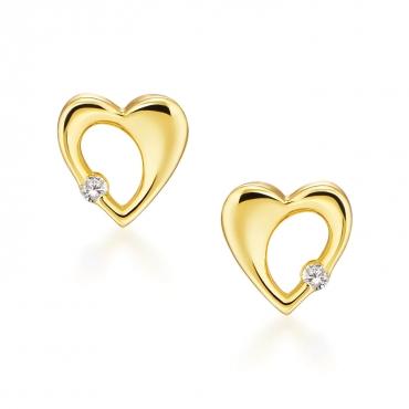 Złote kolczyki Promienne Serce