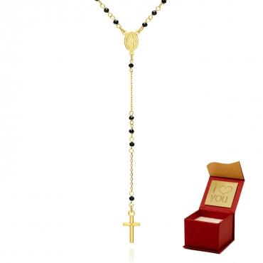 Piękny złoty naszyjnik w formie różańca