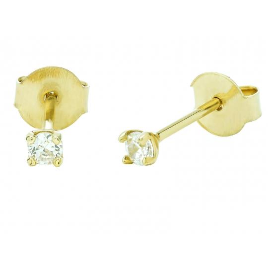 Delikatne kolczyki złote z cyrkonią
