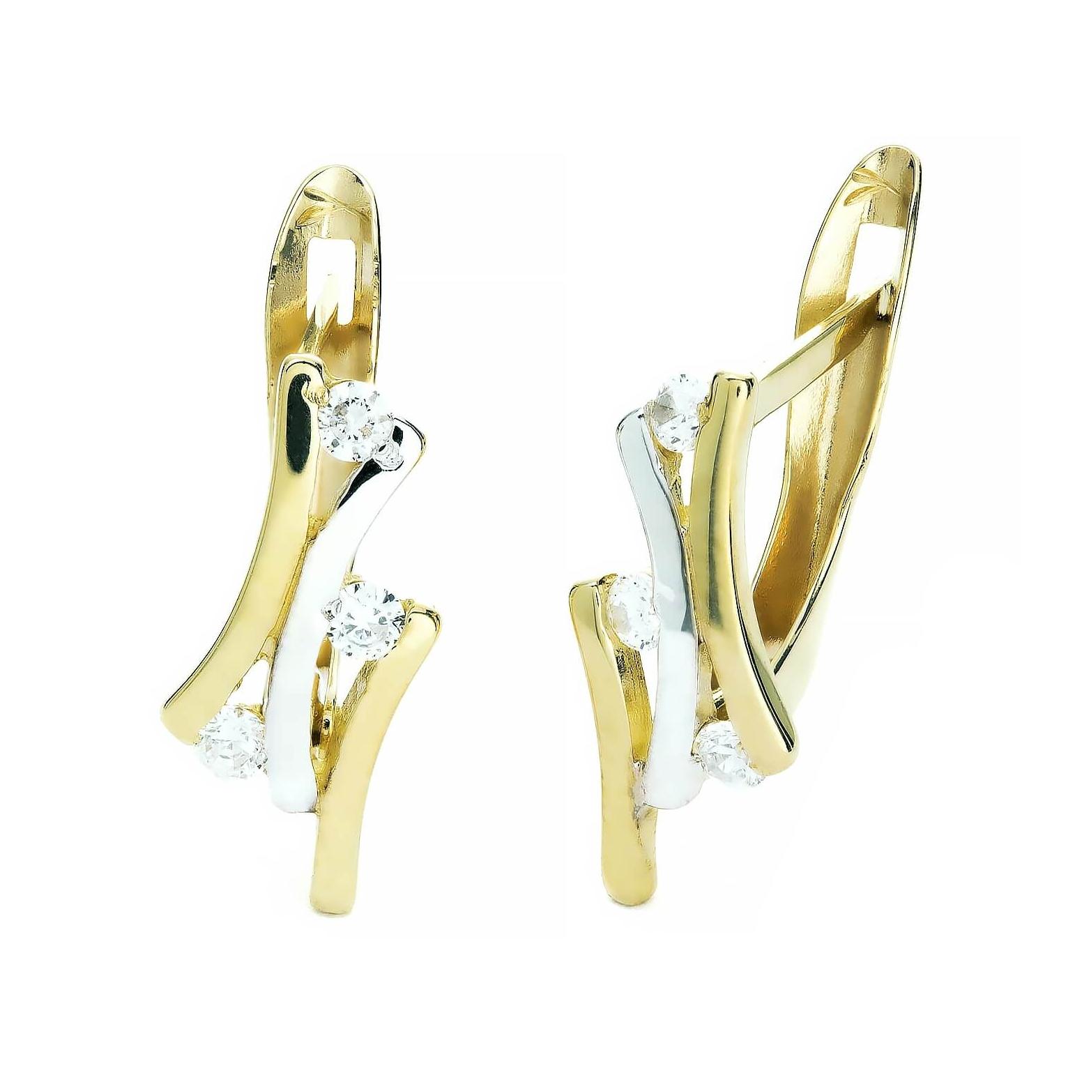 Złote kolczyki cyrkonie