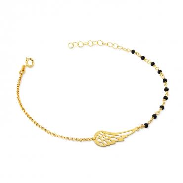 Złota bransoletka na dłoń z anielskim skrzydłem