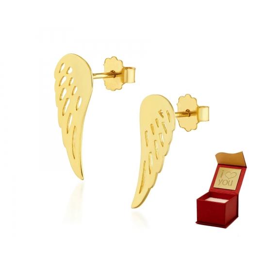 Złote kolczyki Skrzydełka próba 585