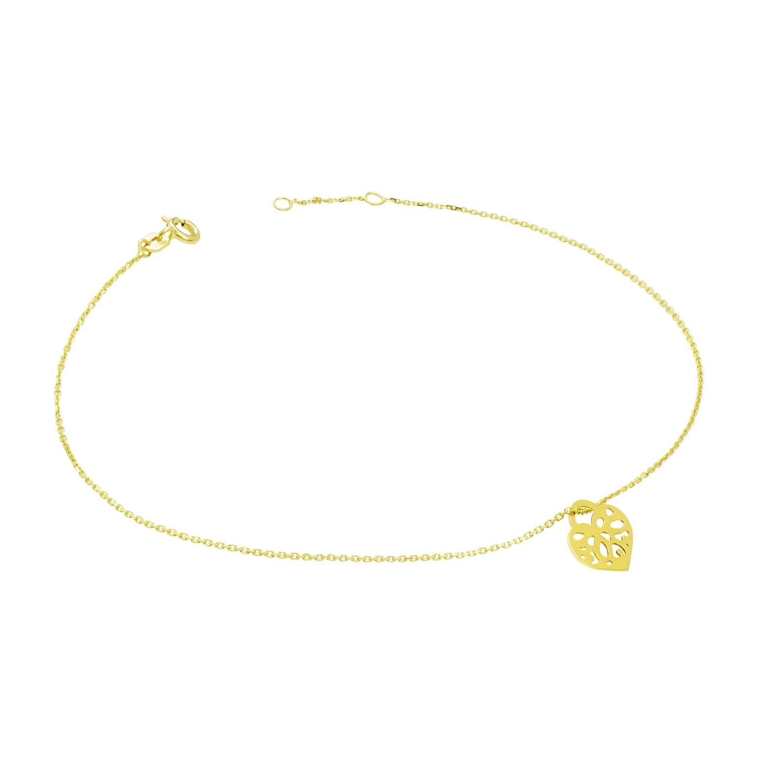 Złota bransoletka na stopę Serce 3.2425c3