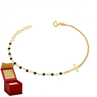 Złota bransoletka na dłoń w formie różańca idealna na prezent chrzest komunia