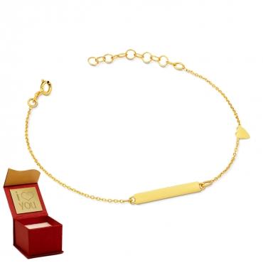 Złota bransoletka z blaszką i serduszkiem