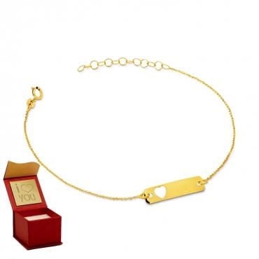 Złota bransoletka z prostokątną blaszką i sercem