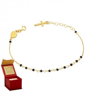 Złota bransoletka na dłoń w formie różańca