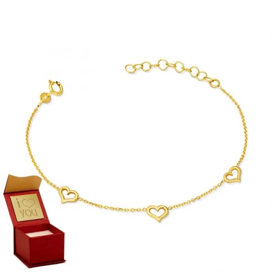 Złota bransoletka na dłoń z SERCAMI