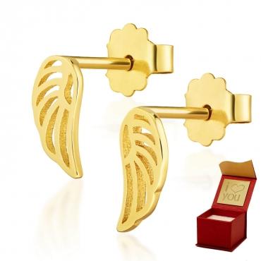 Złote kolczyki mini skrzydełka Little Things