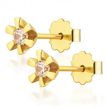 Delikatne Złote kolczyki z Cyrkonią próba 585