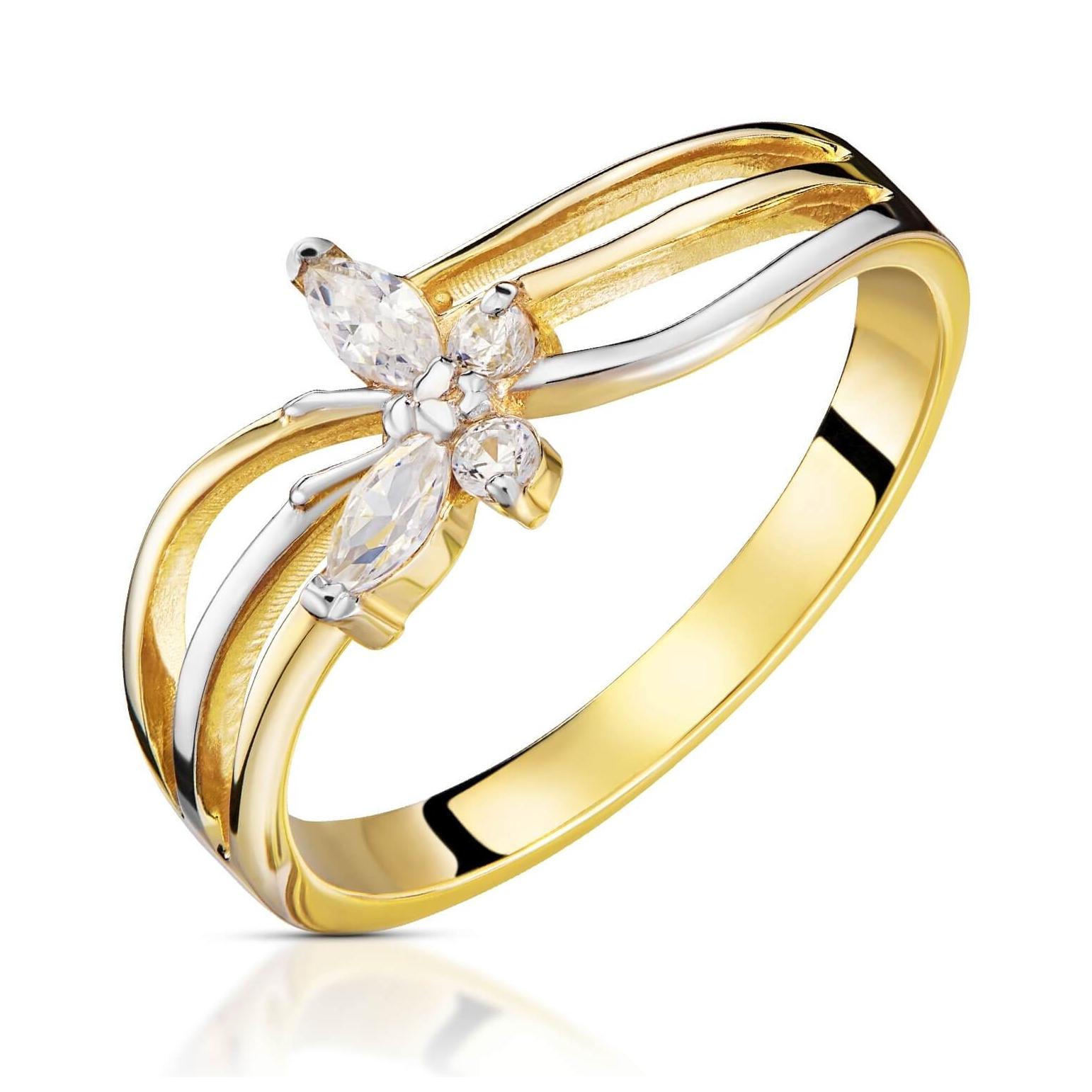 Złoty pierścionek Butterfly próba 585