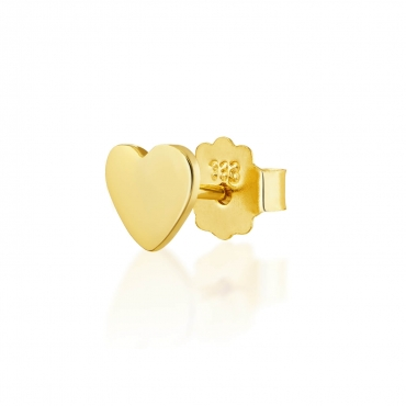 Złote kolczyki Single Serce