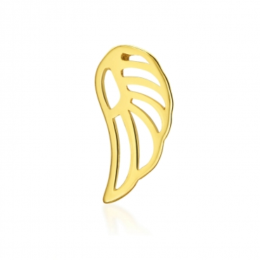 Złoty kolczyk skrzydełko Single