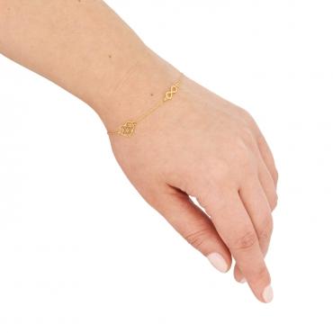 Złota bransoletka na dłoń z sercem i nieskończonością