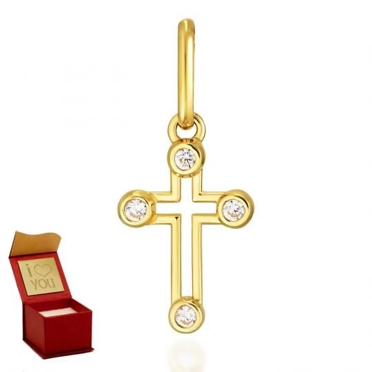 Złoty krzyżyk Zdobiony + Łańcuszek