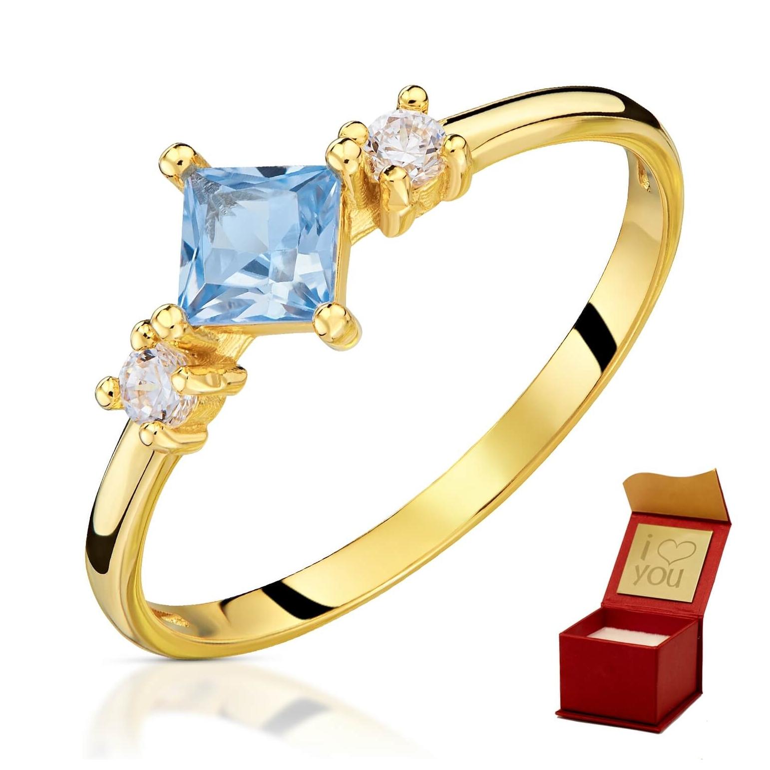 Złoty pierścionek Eric Lazurowy