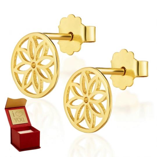 Złote kolczyki na sztyfcie Lotos