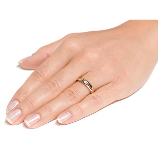 Nacinany Złoty pierścionek z falą Obrączka