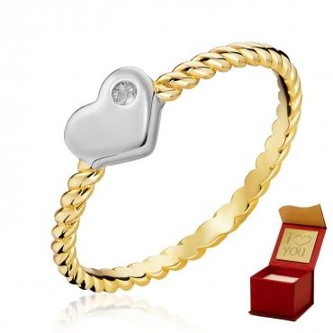 Złoty Pierścionek Białe Serce