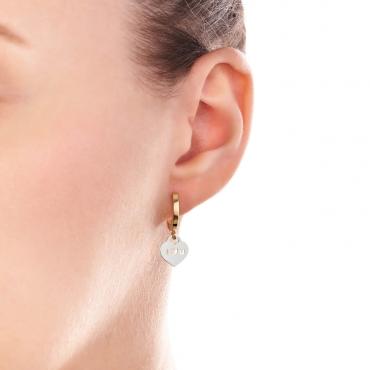 Złote kolczyki wiszące Białe Serce ILOVEU próba 585