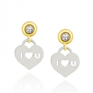 Złote kolczyki Białe Serce