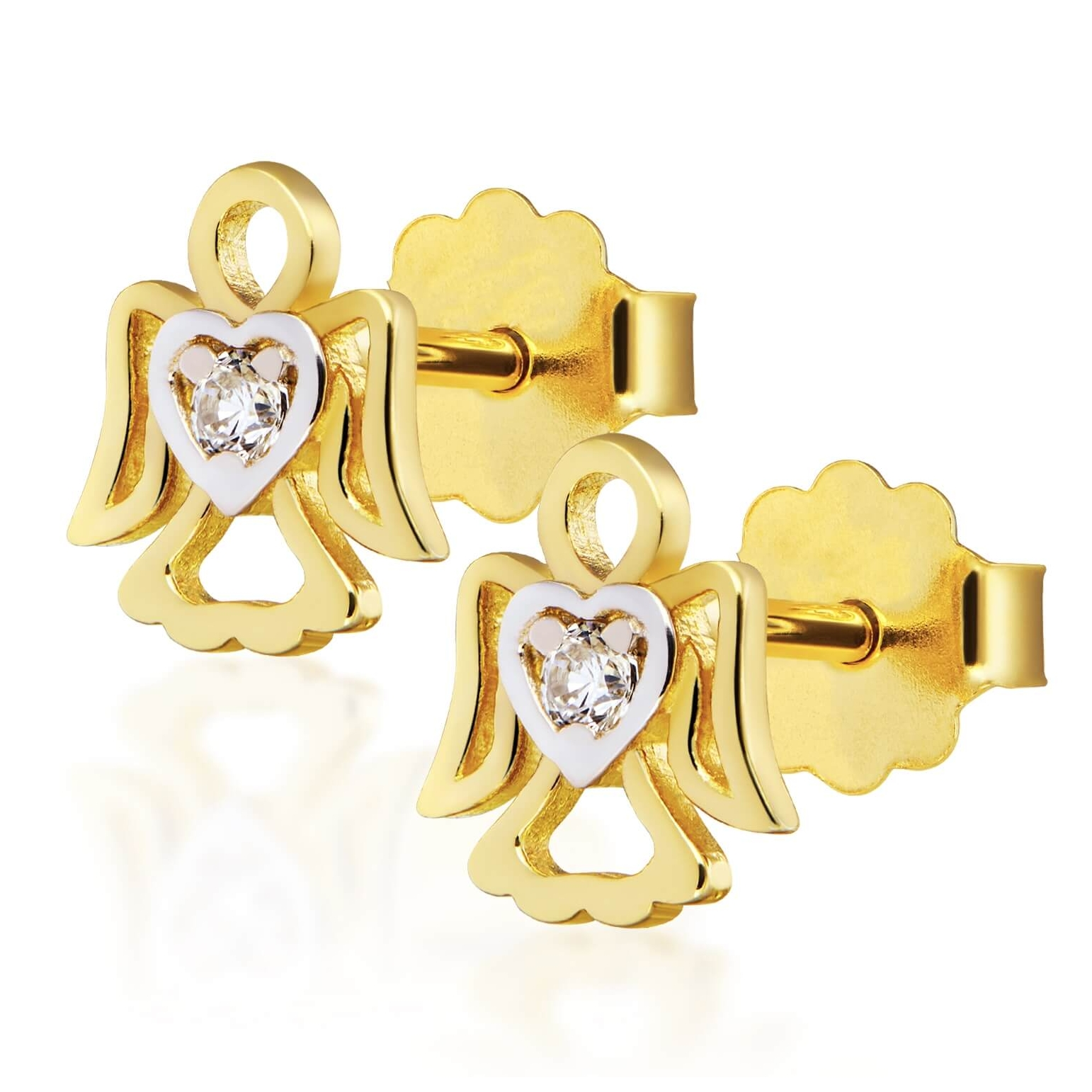 Złote kolczyki z Cyrkonią ANIOŁKI próba 585