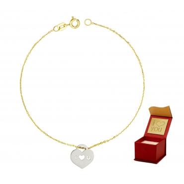 Złota bransoletka na dłoń białe serce love