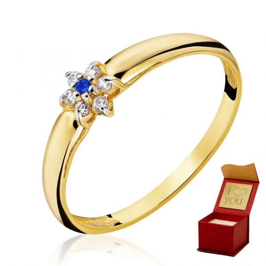 Złoty pierścionek Kwiatek Niebieski
