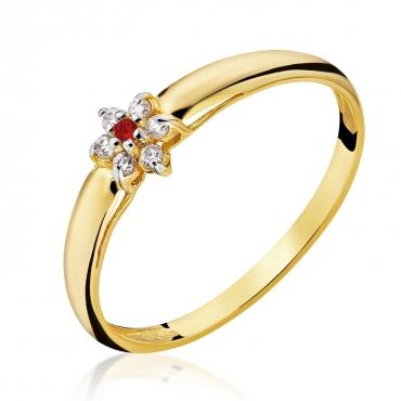 Złoty pierścionek Kwiatek Czerwony