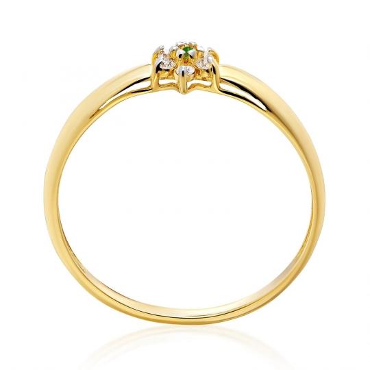 Złoty pierścionek Kwiatek Zielony