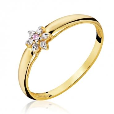 Złoty pierścionek Kwiatek Różowy