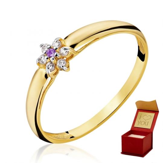 Złoty pierścionek Kwiatek Fioletowy