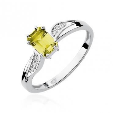 Złoty pierścionek z diamentem Białe złoto EW-94 cytryn
