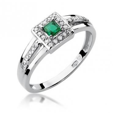 Złoty pierścionek z diamentem Białe złoto EW-271 szmaragd