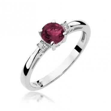 Złoty pierścionek z diamentem Białe złoto EW-10 rubin