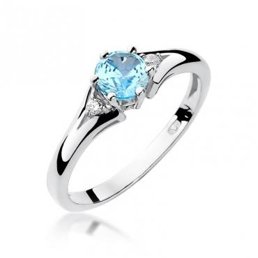 Złoty pierścionek z diamentem Białe złoto EW-76 topaz