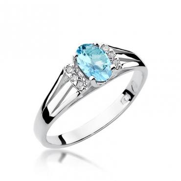 Złoty pierścionek z diamentem Białe złoto EW-5 topaz