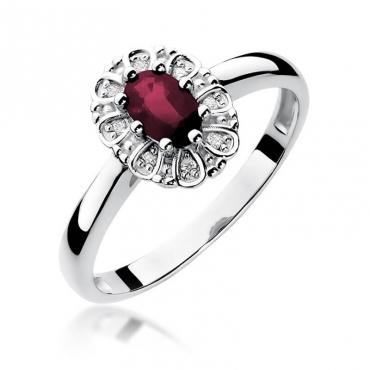 Złoty pierścionek z diamentem Białe złoto EW-304 rubin