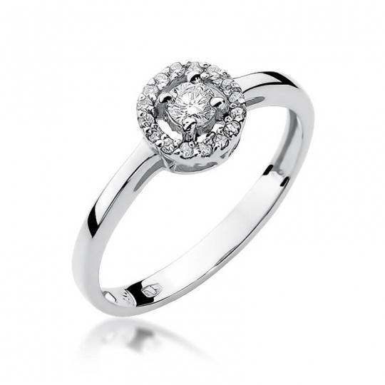 Złoty pierścionek z diamentem Białe złoto EW-238 0,20ct